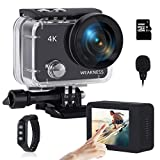 WEAKNESS Action Camera, 4K 24MP WiFi Underwater 131ft Waterproof Camera + 32GB Micro SD Card, Touch Screen External Microphone Sport Camera with Remote Control and 2X 1350mAh Batteries