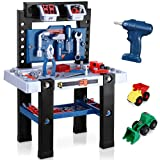 Kids Tool Bench, 91 Pieces Toy Workbench with Toy Drill, Construction Toy Vehicles and Storage Space, Toddler Toy Set with Tool Accessories Gifts for Boys