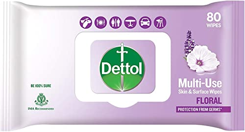 Dettol Skin Surface Disinfectant Wet Wipes Floral 80 Count Moisture Lock Lid Safe on Skin Ideal to Clean Surfaces