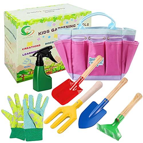 Sunshine smile Gartengeräte für Kinder,7 Stück Gartenspielzeug Set,Spielwerkzeuge für den Strand/Garten,Gartenwerkzeug Set Im Freien,Kids Gardening Tools,Kindergarten Gießkanne,Gießkanne für Kinder