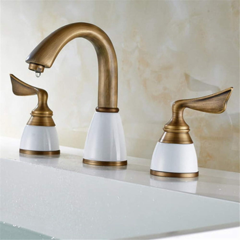 redOOY Bathroom Sink Taps European Three-Hole 8 Inch Basin Faucet Copper Bathroom Cabinet Split Faucet Three-Piece Antique Ceramic Faucet