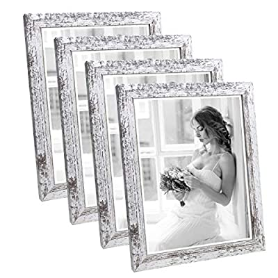 Q.Hou 8x10 Picture Frame Wood Patten Distressed White Photo Frames Packs 4 with High Difinition Glass for Tabletop or Wall Decor (QH-PF8X10-RW)