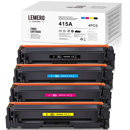 4 LEMERO SUPERX Kein Chip Kompatibel fur HP 415A 415X Toner HP W2030A W2031A W2032A W2033A CF415A Tonerkartuschen fur HP Color Laserjet Pro MFP M479dw M479fdw M479fdn M454dw Drucker 4er Pack