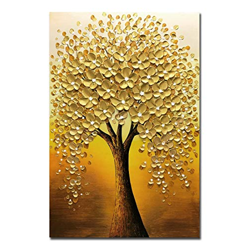 Yotree Oil paintings, 24x36 Inch Golden Flowers Tree Luck Tree Oil Hand Painting Painting 3D Hand-Painted On Canvas Abstract Artwork Art Wood Inside Framed Hanging Wall Decoration Abstract Painting