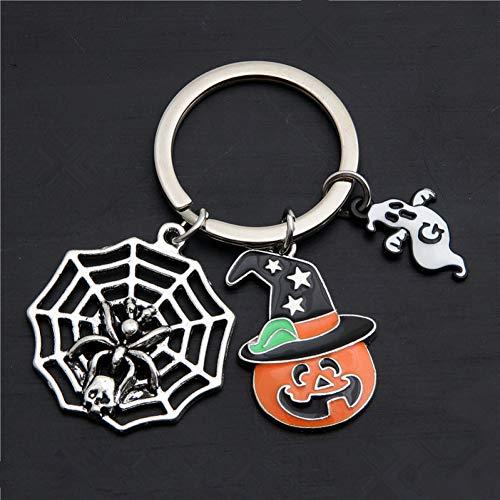 XHYKL 1 Halloween cadeau voor Streghe Spider Web Charms nagellak pompoen Fantasma sleutelhanger sieraden handgemaakt