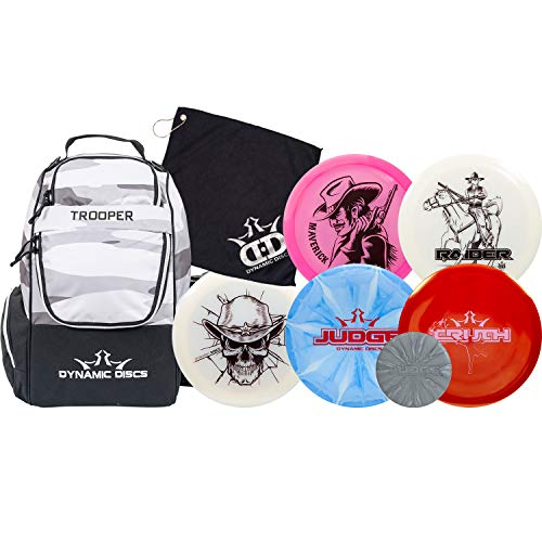 Dynamic Discs Disc Golf Starter Set | Trooper Disc Golf Bag Included | 25 Disc Capacity | Five Premium Discs | High Speed Distance Disc Golf Drivers, Midrange and Putter Included (Arctic Camo)