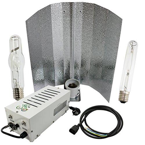Cultivalley 600W Grow-Set, Profi Pflanzenbeleuchtung, Plug & Play Bausatz mit NDL Natriumhochdruck-Leuchtmittel HPS für die Blüte & Halogen-Metalldampflampe MH Wuchslicht, Pflanzenlicht