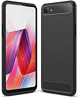 Plus Carbon Fiber Brushed Texture Shockproof Back Case Cover for Realme 1 - Midnight Black
