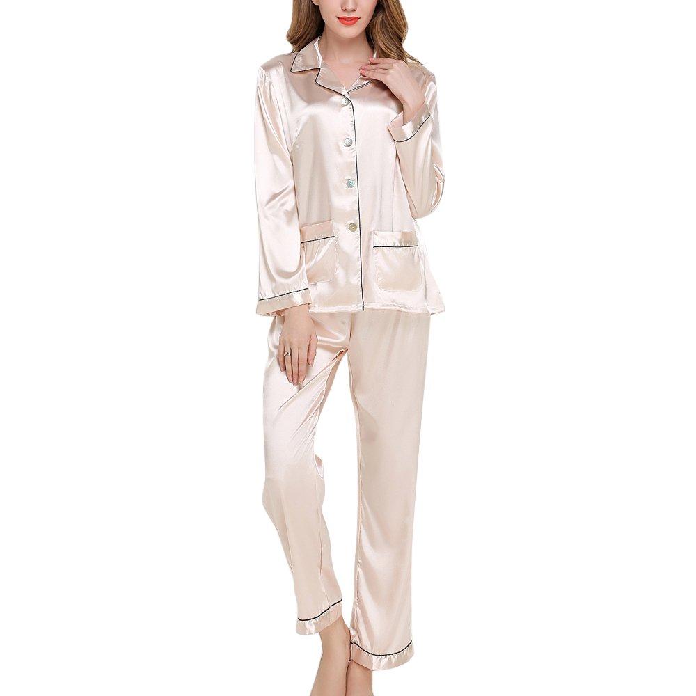 2 Pièces Ensemble de Pyjama en Satin Femme Manches Longues Vêtement de Nuit Top Bouton et Pantalon Printemps Automne