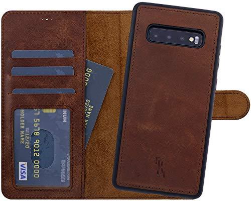 Burkley Handyhülle für Samsung Galaxy S10 Leder-Hülle mit Abnehmbarer Schutz-Hülle kompatibel mit Galaxy S10 Case Cover - TÜV geprüfter RFID Schutz (Antik Kaffee Braun)