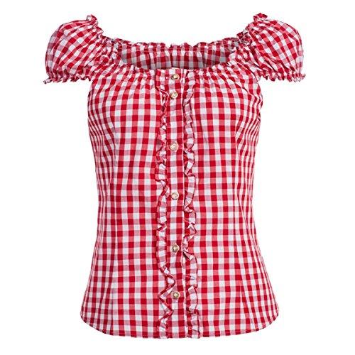 Almsach Damen Trachten-Mode Trachtenbluse Carmen traditionell geschnitten Gr.32-50, Größe:44, Farbe:Rot