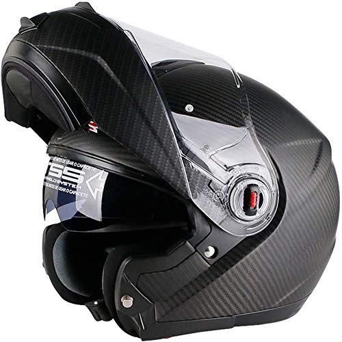 ZHXH Motorrad Open Face Helm, Kohlefaser Erwachsene Männer und Frauen können den Helm hochklappen, Dot Certification/ece Standard,