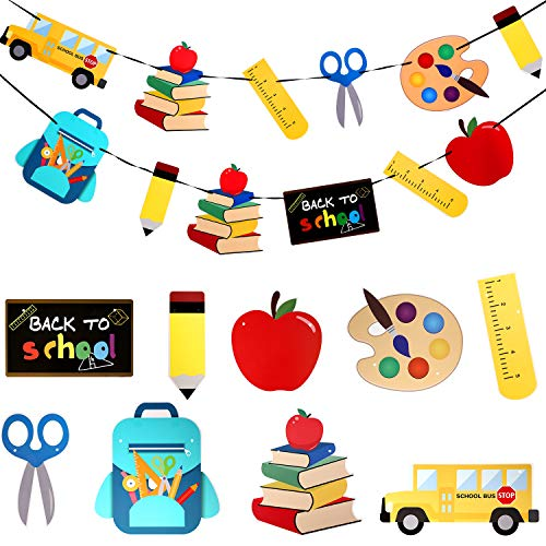 45 Pieces Back to School Party Decorations Hanging Banner Ruler Pencil Stationery Banner Set with 2 Ropes and 40 Glue Point Dots for Welcome Back Party Decorations Classroom Decor