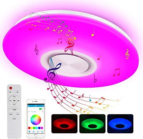 Led Deckenleuchte mit Bluetooth Lautsprecher und Fernbedienung, 24W RGB Musik Deckenlampe Farbwechsel mit APP-Steuerung, 3000-6500K für Küche Kinderzimmer Wohnzimmer, Flur, Rund 40cm