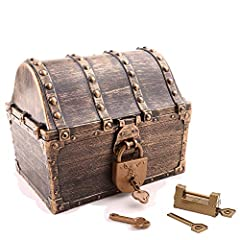 ✔Treasure Chest Measure 5.3''x5.5''x6.7''(L*W*H),2Locks&4pcs Keys. ✔Kids pirate treasure chest adopts high - tech gold plating technology without dropping paint, high - quality plastic material is safe and healthy. ✔Perfect party favor prop decoratio...
