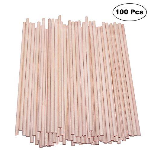 BELLE VOUS Holzstäbe (100 teilige) - 30cm x 7mm - Runden Naturholz Dübelstangen - Holzstäbchen für Basteln, Dekoration - Bastelstäbe für Kunst und Handwerks Projekte