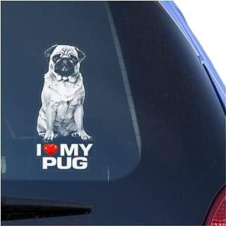 I Love My Pug Clear Vinyl Decal Sticker for Window, Chinese Toy Bulldog Mini Dog Sign Art Print