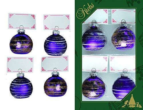 Krebs glas Lauscha - tafelkaarthouder - tafeldecoratie - 4 kerstballen van glas met tafelkaart