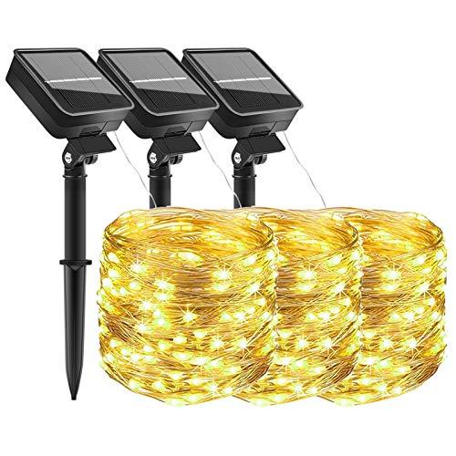 Guirnaldas Luces Exterior Solar,Luces Solares Cadena [3 piezas] 3x100 LEDs 3x10m LEDs...
