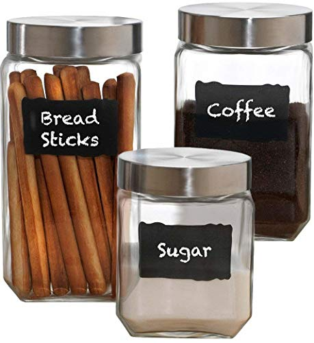 Circleware 92045 Provincial Chalkboard Glass Canisters with Metal Lids, Set of 3, Kitchen Glassware Food Beverage Preserving Containers for Coffee, Sugar, Tea, Spices, Cereal