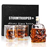 MINGYALL Transparent Creative Whiskey Decanter Set,Stormtrooper Bottle with 2 Glasses, Whiskey Carafe, for Whiskey, Vodka, and Wine, 680ml