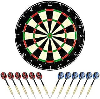 Linkvisions Sisal/Bristle Dartboard with Staple-Free Bullseye, 18g Steel Tip Darts Set,Dartboard Mounting Kits Included