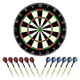 "LinkVisions Sisal/Bristle Dartboard with Staple-Free Bullseye 17.8"" x1.5 and 12 Steel Tip Darts 18g, Dartboard..."