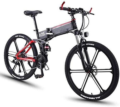XDHN Batería Desmontable De Bicicleta Eléctrica Plegable Y Luminosa Led Faro Adaptable 36V8Ah Batería De Litio Adecuada para El Trabajo, Ciclismo, Viaje, Rojo