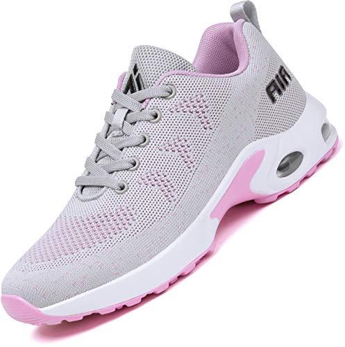 Mishansha Turnschuhe Damen Air Sportschuhe Dämpfung Laufschuhe Frauen Atmungsaktiv Walkingschuhe rutschfest Sneaker Grau 276, Gr.42 EU