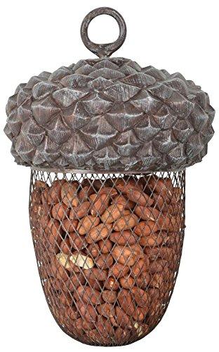 Esschert Design Futterstelle Eichel aus Polyresin und Metall,14,0 x 14,0 x 22,2 cm