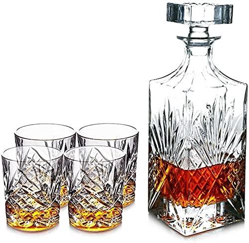 5 Piezas de Whisky la Jarra del Regalo, Cristal de Plomo Libre Jarra de Cristal con 4 Whisky Vasos, Vino, Whisky Decan, Licor Decanter, Scotch o espíritus 750ml HMLIFE