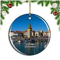リンダウ港ドイツクリスマスデコレーションオーナメントクリスマスツリーペンダントデコレーションシティトラベルお土産コレクション磁器2.85インチ