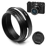 Fotover Parasol y anillo adaptador de metal con tapa central para objetivo Fujifilm Finepix X100F X100S X100T X70