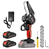 Greentooler Electric Mini Chainsaw, 4-Inch Cordless Chainsaw 20V 2.0Ah Rechargeable Portable Chainsaw with Splash Baffle & Safety Button, Handheld Chainsaw for Shaping/Cutting /Trimming /Gardening