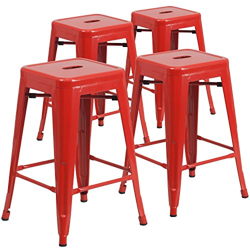 Flash Furniture 4 Pk. 24'' High Backless Red Metal Indoor-Outdoor Counter Height Stool with Square Seat