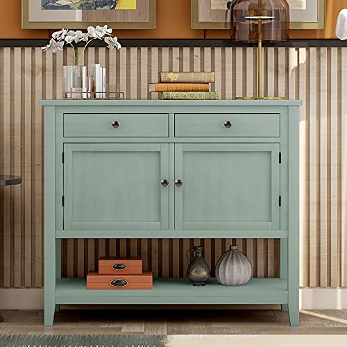 Knocbel 39in Console Table with Storage Drawers, Cabinets and Open Shelf, Entryway Hallway Dining Room Buffet Sideboard, 99lbs Weight Capacity (Green)