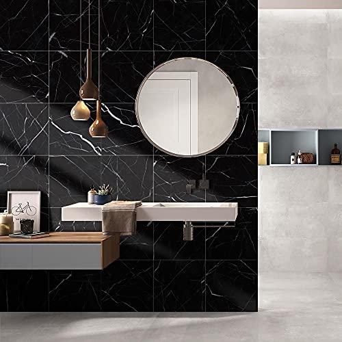 Swinno 10 pegatinas para azulejos de mármol, color negro, gruesas, impermeables, PVC, para el suelo, cocina, baño, autoadhesivas, 30 x 30 cm, 11,8 x 11,8 pulgadas