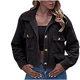 TTivxe Classics - Chaqueta de mujer de gran tamaño Corduroy, chaqueta de pana con forro interior de sherpa para mujer, manga larga, moda, Negro , XL