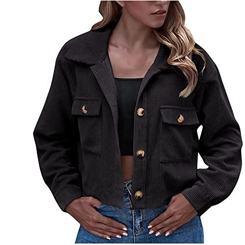 StarneA Damen Sweatshirt Einfarbig Kord Jacke Lässige Crop Jacken Langarm Jacke Mantel Strickjacke Outwear Mode Bikerjacke Lockere Langarmshirts