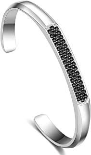 Cuff Bracelet Mesh Chain Bangle Black Marcasite Design Magnet Clasp Snake Link for Men Boy Unisex