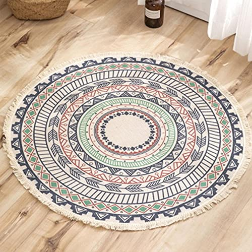 QXXKJDS Alfombra redonda de estilo nórdico, estilo nacional, bohemia, para sala de estar, dormitorio (color: 17, tamaño: 120 x 120 cm)