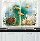 Cortinas de cocina de tortuga, ilustración artística de la vida del océano, acuario, animales tropicales, peces de colores y conchas marinas, cortina de 2 paneles para dormitorio, sala de estar, multi