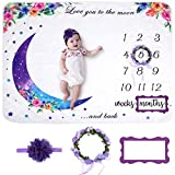 Baby Monthly Milestone Blanket | Premium Purple Floral Wreath Month Marker & Cute Headband | Extra Soft Fleece Baby Photo Blankets for Newborn 1-12 Months for Baby Girl
