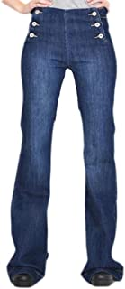 Macondoo Womens Denim Casual Flare Button Boot Cut Stretch Distressed Jeans