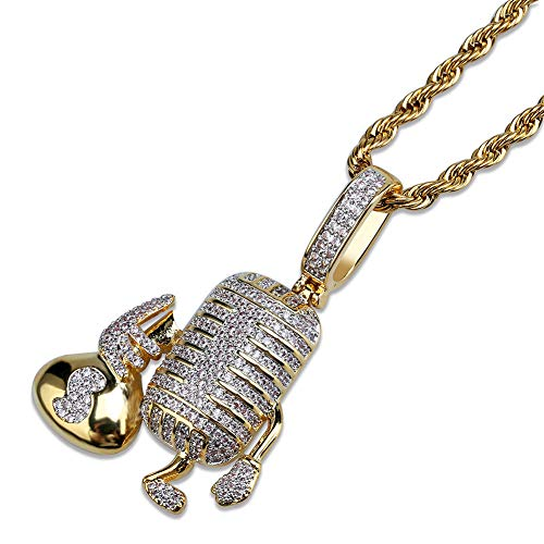 JOERTER Micro-Inlaid Zirkoon Hip Hop Street Ketting Accessoires, Punk Microfoon Cartoon Hanger, Ice-Out Simulated Diamond Ketting (Inclusief Ketting)