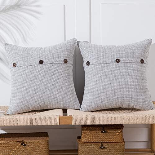 Anickal Light Grey Pillow Covers 24x24 Inch with Triple Buttons Set of 2 Chenille Rustic Farmhouse product image