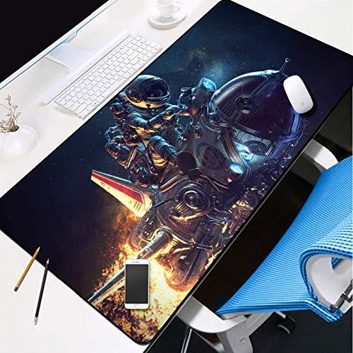 Alfombrilla de ratón grande para videojuegos, alfombrilla de ratón grande extendida con patrón de astronauta y astronauta resistente al agua, 31.5 x 11.8 pulgadas (tamaño: 35.4 x 15.8 pulgadas)