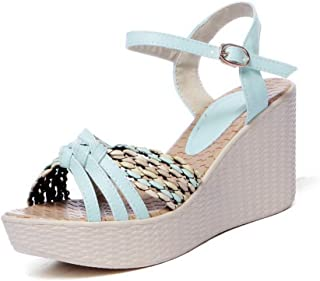 BalaMasa Womens ASL06435 Pu Wedges Sandals