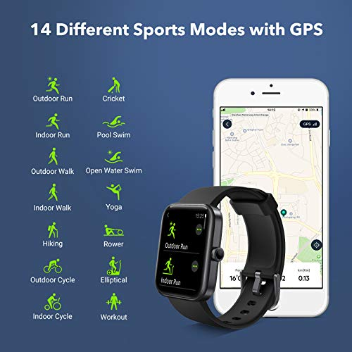 JIKKO Smartwatch, ID206 Touchscreen Armbanduhr, 1.69 Zoll Fitness Tracker Sportuhr mit Schrittzähler, Pulsuhr&Blutsauerstoffsättigung, mit Alexa 5ATM wasserdichte Smart Watch für Android iOS (Schwarz)