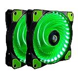 CONISY 120 mm Ventola PC Ultra Silenzioso Cuscinetto LED Ventilatore di Raffreddamento per Gaming Computer Case (verde x2)